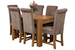 Kuba Solid Oak 125cm Dining Table with 6 Washington Dining Chairs [Grey Fabric]