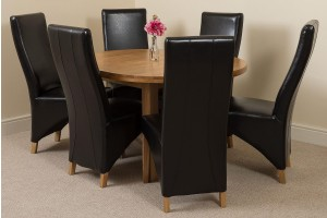 Edmonton Solid Oak Extending Oval Dining Table With 6 Lola Dining Chairs [Brown Leather]