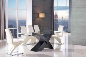 Valencia Black 160cm Wood and Glass Dining Table with 6 Zed Designer Dining Chairs [Ivory]