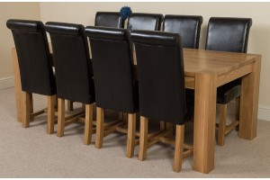Kuba Solid Oak 220cm Dining Table with 8 Washington Dining Chairs [Black Leather]