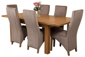 Seattle Solid Oak 150cm-210cm Extending Dining Table with 6 Lola Dining Chairs [Beige Fabric]
