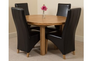 Edmonton Solid Oak Extending Oval Dining Table With 4 Lola Dining Chairs [Brown Leather]