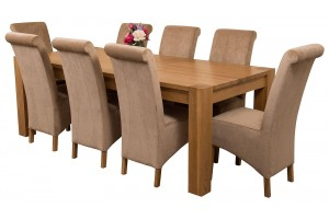 Kuba Solid Oak 220cm Dining Table with 8 Montana Dining Chairs [Beige Fabric]