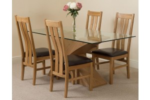 Valencia Oak 160cm Wood and Glass Dining Table with 4 Princeton Solid Oak Dining Chairs [Light Oak and Brown Leather]