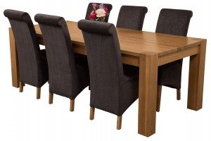 Kuba Solid Oak 220cm Dining Table with 6 Montana Dining Chairs [Black Fabric]