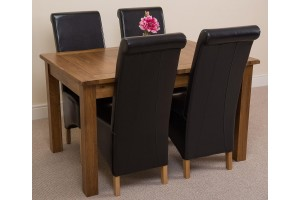 Cotswold Rustic Solid Oak 132cm-198cm Extending Farmhouse Dining Table with 4 Montana Dining Chairs [Black Leather]