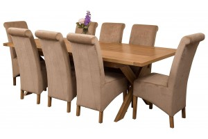 Vermont Solid Oak 200cm-240cm Crossed Leg Extending Dining Table with 8 Montana Dining Chairs [Beige Fabric]