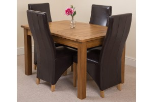 Cotswold Rustic Solid Oak 132cm-198cm Extending Farmhouse Dining Table with 4 Lola Dining Chairs [Brown Leather]
