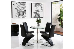 Target Round Glass and Steel 80cm Dining Table with 2 Zed Designer Dining Chairs [Black]