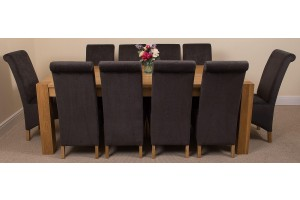 Kuba Solid Oak 220cm Dining Table with 10 Montana Dining Chairs [Black Fabric]