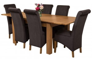 Richmond Solid Oak 140cm-220cm Extending Dining Table with 6 Montana Dining Chairs [Black Fabric]