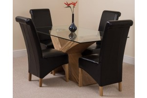 Valencia Oak 160cm Wood and Glass Dining Table with 4 Montana Dining Chairs [Black Leather]