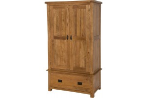 Cotswold Rustic Solid Oak Double Wardrobe