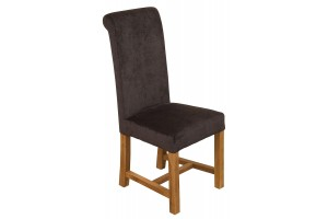 Washington Scroll Top Dining Chair [Black Fabric]