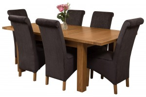 Seattle Solid Oak 150cm-210cm Extending Dining Table with 6 Montana Dining Chairs [Black Fabric]