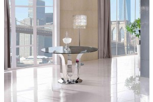 Naples Glass Dining Table [Glass and Polished Steel]