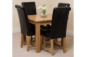 Oslo Solid Oak Dining Table with 4 Washington Dining Chairs [Black Leather]