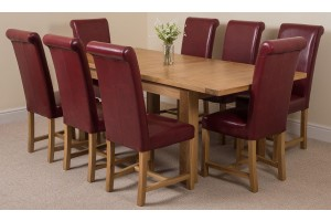 Seattle Solid Oak 150cm-210cm Extending Dining Table with 8 Washington Dining Chairs [Burgundy Leather]