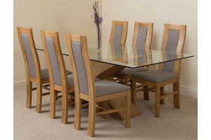 Valencia Oak 200cm Wood and Glass Dining Table with 6 Stanford Solid Oak Dining Chairs [Light Oak and Grey Fabric]