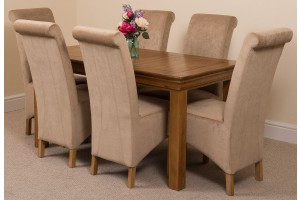 French Chateau Rustic Solid Oak 150cm Dining Table with 6 Montana Dining Chairs [Beige Fabric]