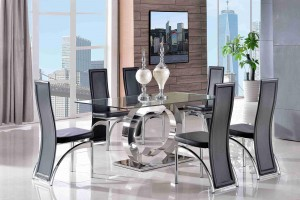 Channel Glass and Polished Steel Dining Table with 6 Alisa Dining Chair [Black]