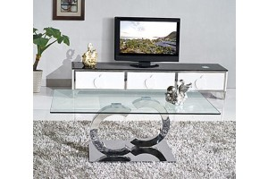Channel Designer Coffee Table [Glass and Polished Steel]
