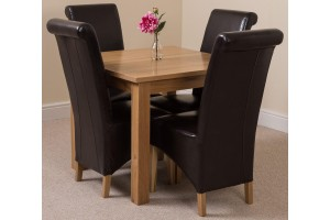 Oslo Solid Oak Dining Table with 4 Montana Dining Chairs [Brown Leather]