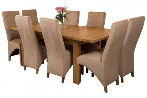 Seattle Solid Oak 150cm-210cm Extending Dining Table with 8 Lola Dining Chairs [Beige Fabric]