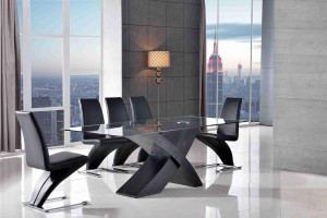 Valencia Black 200cm Wood and Glass Dining Table with 6 Zed Designer Dining Chairs [Black]