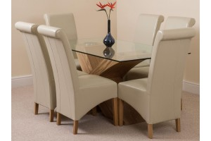 Valencia Oak 160cm Wood and Glass Dining Table with 6 Montana Dining Chairs [Ivory Leather]