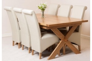 Vermont Solid Oak 200cm-240cm Crossed Leg Extending Dining Table with 6 Montana Dining Chairs [Ivory Leather]