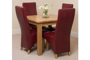 Oslo Solid Oak Dining Table with 4 Lola Dining Chairs [Burgundy Leather]