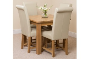 Oslo Solid Oak Dining Table with 4 Washington Dining Chairs [Ivory Leather]