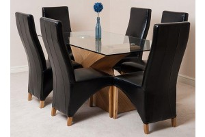 Valencia Oak 160cm Wood and Glass Dining Table with 6 Lola Dining Chairs [Black Leather]