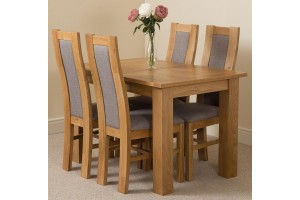 Hampton Solid Oak 120-160cm Extending Dining Table with 4 Stanford Solid Oak Dining Chairs [Light Oak and Grey Fabric]