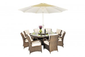 Front of Arizona Rattan Garden Furniture [8 Seat Dining Set with Round Table]