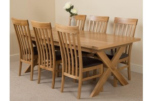 Vermont Solid Oak 200cm-240cm Crossed Leg Extending Dining Table with 6 Harvard Solid Oak Dining Chairs [Light Oak and Brown Leather]