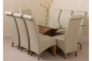 Valencia Oak 200cm Wood and Glass Dining Table with 8 Montana Dining Chairs [Ivory Leather]