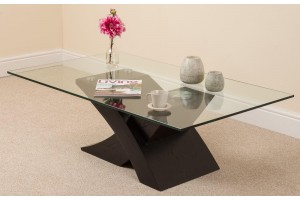 Milano Coffee Table [Glass and Black Wood]