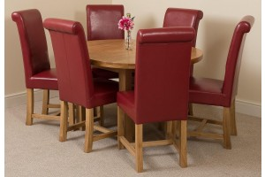 Edmonton Solid Oak Extending Oval Dining Table With 6 Washington Dining Chairs [Burgundy  Leather]