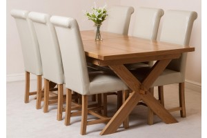 Vermont Solid Oak 200cm-240cm Crossed Leg Extending Dining Table with 6 Washington Dining Chairs [Ivory Leather]