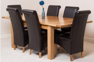 Seattle Solid Oak 150cm-210cm Extending Dining Table with 6 Montana Dining Chairs [Brown Leather]