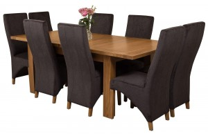 Seattle Solid Oak 150cm-210cm Extending Dining Table with 8 Lola Dining Chairs [Black Fabric]