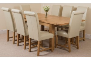 Seattle Solid Oak 150cm-210cm Extending Dining Table with 8 Washington Dining Chairs [Ivory Leather]