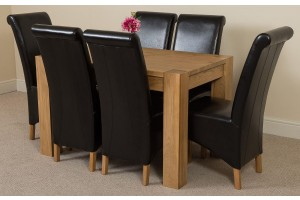Kuba Solid Oak 125cm Dining Table with 6 Montana Dining Chairs [Black Leather]