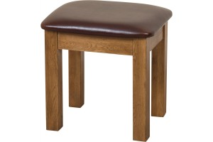Cotswold Rustic Solid Oak Stool [Rustic Oak and Brown Leather]