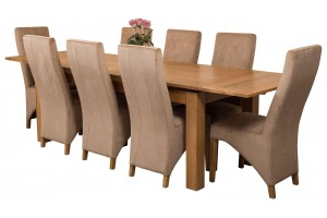 Richmond Solid Oak 200cm-280cm Extending Dining Table with 8 Lola Dining Chairs [Beige Fabric]