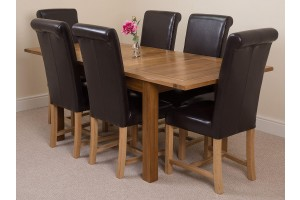 Cotswold Rustic Solid Oak 132cm-198cm Extending Farmhouse Dining Table with 6 Washington Dining Chairs [Brown Leather]