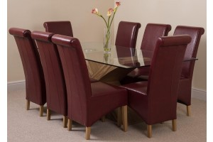 Valencia Oak 200cm Wood and Glass Dining Table with 8 Montana Dining Chairs [Burgundy Leather]