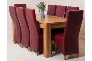 Kuba Solid Oak 180cm Dining Table with 8 Lola Dining Chairs [Burgundy Leather]